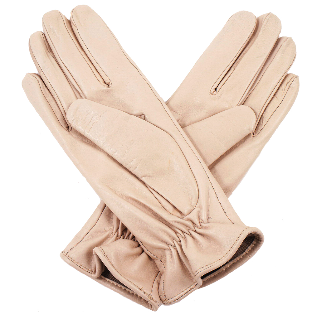 Womens beige leather gloves - Womens Beige Leather Gloves 2